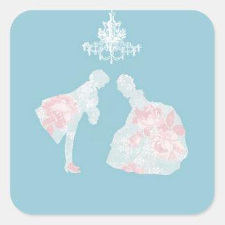 prince och princess fyrkantigt klistermärke