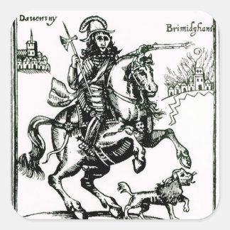 Prince Rupert på hästrygg Fyrkantigt Klistermärke
