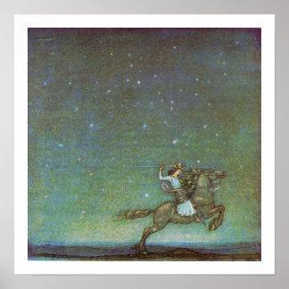 Princen Rida i månsken av John Bauer Affisch