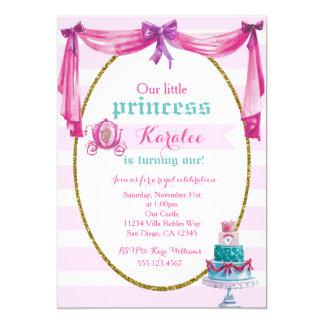 Princess 1st födelsedagsfest inbjudan