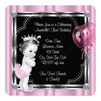 Princess 3rd födelsedagsfest fyrkantigt 13,3 cm inbjudningskort