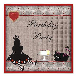 Princess Alice & Cheshire kattfödelsedagsfest Fyrkantigt 13,3 Cm Inbjudningskort