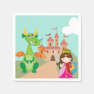 Princess Drake och riddare Papper Servett