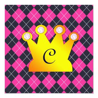 Princess Festa Rosa Argyle Fyrkantigt 13,3 Cm Inbjudningskort