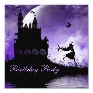 Princess & födelsedagsfest för slottflickalilor fyrkantigt 13,3 cm inbjudningskort