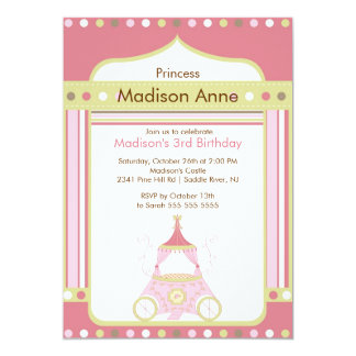 Princess födelsedagsfest inbjudan - rosa vagn