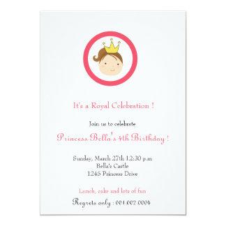 Princess födelsedagsfest inbjudan (vit)