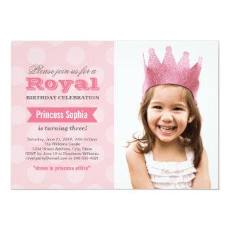 Princess för fotofödelsedagsfest inbjudan | i 12,7 x 17,8 cm inbjudningskort