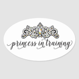 Princess i utbildningsklistermärke ovalt klistermärke