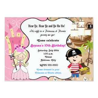 Princess- och piratfödelsedagsfest inbjudan