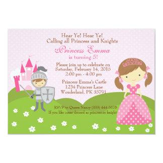 Princess- och riddarefödelsedaginbjudan 12,7 x 17,8 cm inbjudningskort