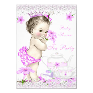 Princess Tea Festa för vintagebaby showerflicka 12,7 X 17,8 Cm Inbjudningskort
