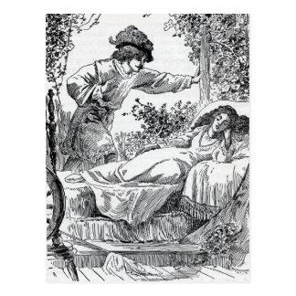 Princessalseep i säng i skogprincen vykort
