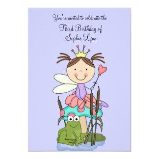 Princessen och grodapartyinbjudan 12,7 x 17,8 cm inbjudningskort