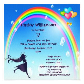 Princessen regnbåge, bubblar & sväller födelsedag fyrkantigt 13,3 cm inbjudningskort