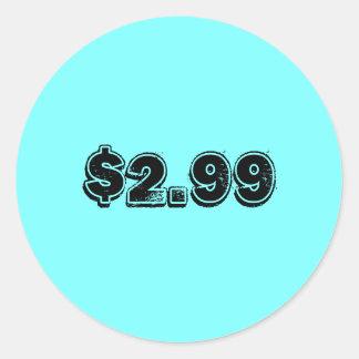 Pris etikett runt klistermärke