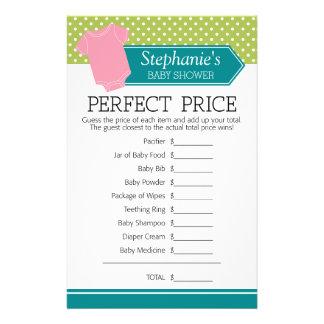 Pris för baby showerlekperfekt - pastellfärgad reklamblad 14 x 21,5 cm
