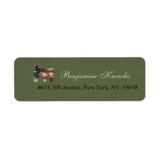 Privat amerikan Pvt för USA militär armégrönt Returadress Etikett