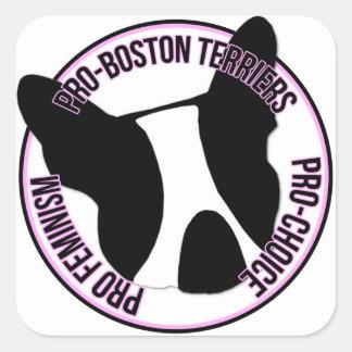 Pro Boston Terriers, Pro feminism, Pro primat Fyrkantigt Klistermärke