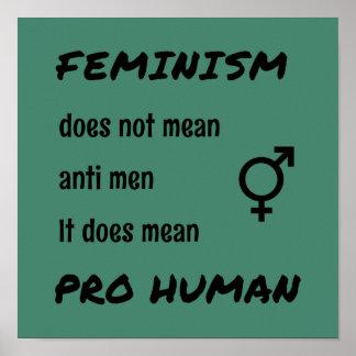 Pro människaslogan för feminism poster