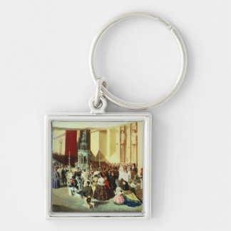 Procession av Corpus Christi i Seville Fyrkantig Silverfärgad Nyckelring