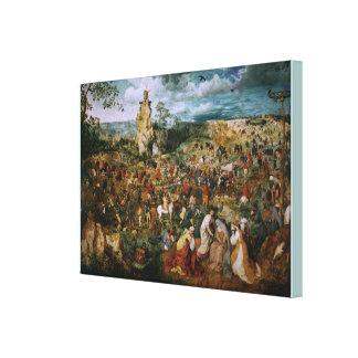 Processionen till calvaryen av Pieter Bruegel Elen Canvastryck