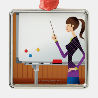 Profilera av affärskvinnan som pekar whiteboard julgransprydnad metall
