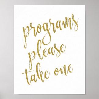 Program behar tar ett bröllop för glitter 8x10 poster