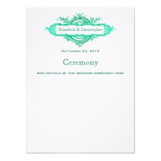 Program för Aquaglödvintage bröllop 16,5 X 22,2 Cm Inbjudningskort