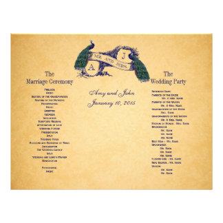 Program för blåttpåfågelvintage bröllop