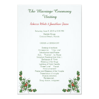 Program för ceremoni för bröllop för 12,7 x 17,8 cm inbjudningskort