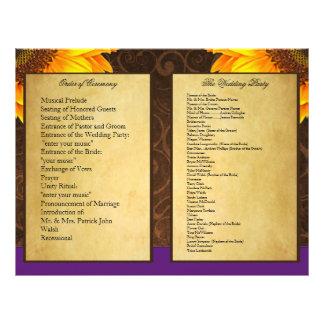 Program för ceremoni för bröllop för solros för