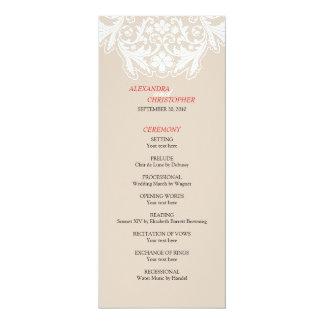 Program för elegant bröllop för vitsnöre rött 10,2 x 23,5 cm inbjudningskort