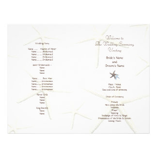 Program för fläkt för sjöstjärnavitstrand bröllop brevhuvud