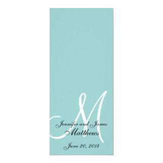 Program för kyrka för bröllop för Monogramblåttvit 10,2 X 23,5 Cm Inbjudningskort