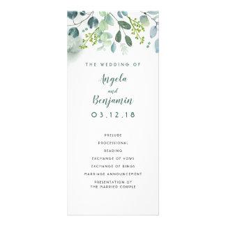 Program för vattenfärggrönskaelegant bröllop
