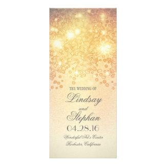 Program för vintage bröllop för guldljusglamour
