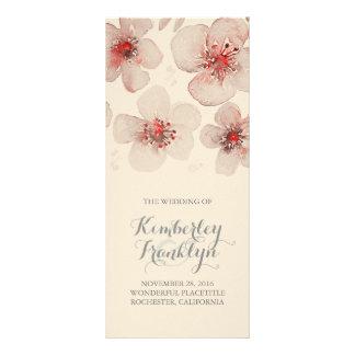 Program för vintage bröllop för Waterolor blomma