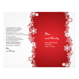 Program för vit för Snowflake rött vikt bröllop