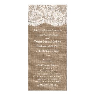 Programen för burlap- & snörebröllopsamling reklamkort