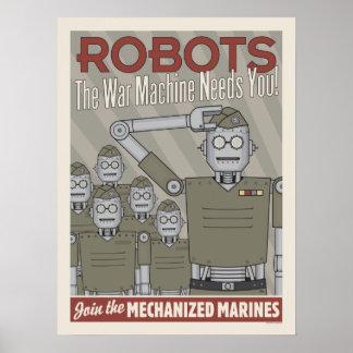 Propaganda för militär för vintagestilrobot poster
