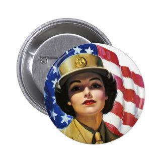 Propagandaaffisch för krigstid WW2 Standard Knapp Rund 5.7 Cm