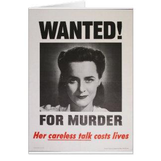 """Propagandaaffisch """"som önskas för mord"""" WWII Hälsningskort"""