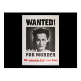 """Propagandaaffisch """"som önskas för mord"""" WWII Vykort"""