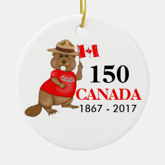 Proudly kanadensisk årsdag för bäver 150 julgransprydnad keramik