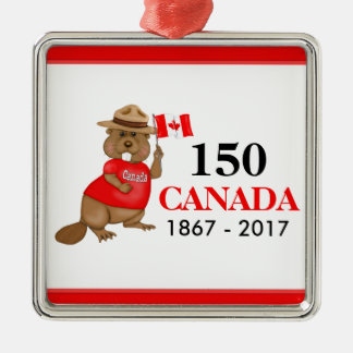 Proudly kanadensisk årsdag för bäver 150 julgransprydnad metall