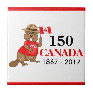 Proudly kanadensisk årsdag för bäver 150 liten kakelplatta
