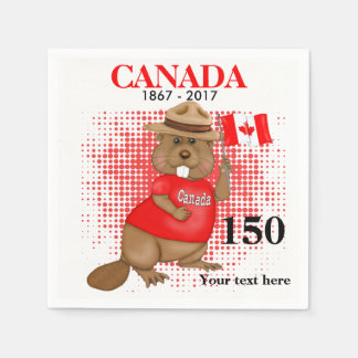 Proudly kanadensisk årsdag för bäver 150 papper servetter