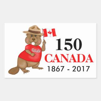 Proudly kanadensisk årsdag för bäver 150 rektangulärt klistermärke