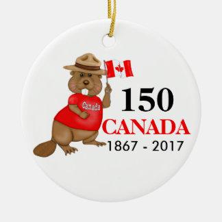 Proudly kanadensisk årsdag för bäver 150 rund julgransprydnad i keramik